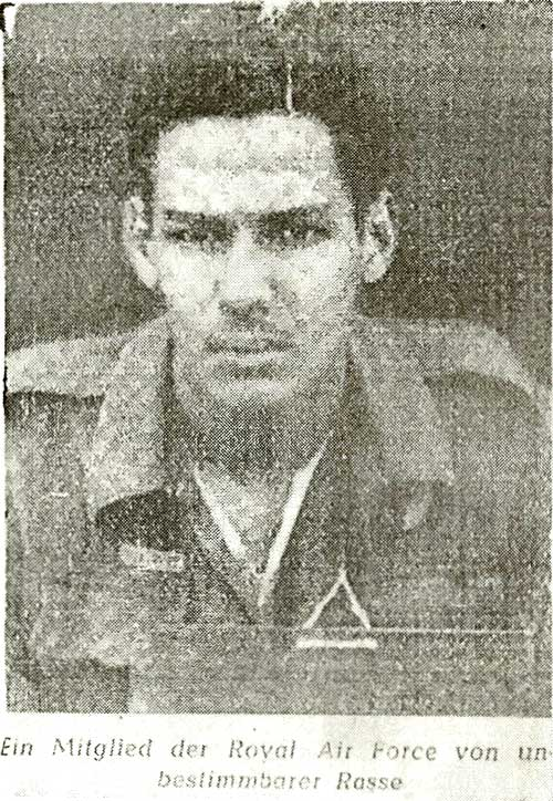 Cy Grant's photo as it appeared in pro-Nazi newspaper Völkischer Beobachter after his capture in Holland